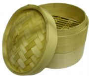 2-Tier Bamboo Steamer with Lid - 8 inch